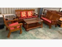 [9成新] 3+2+1實木沙發組(含大小茶几木製沙發無破損有使用痕跡